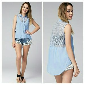 Tops - Bella high low button up tank